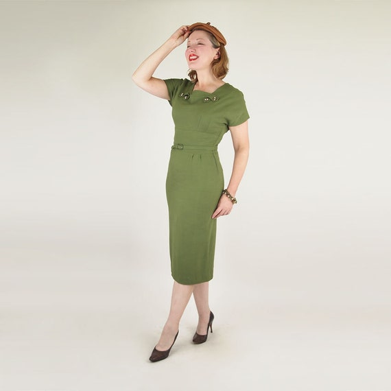 RESERVED 50s Olive Green Long Lean Sheath Dress with Neckline Detail M