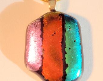 Dichroic Glass Striped Cabochon