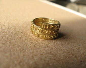 Number Band Wrap Ring - 14k Gold Plated