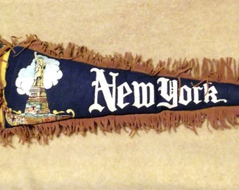 Kitschy Vintage Pennant Pillow - New York City, New York - One of a Kind (Blue)