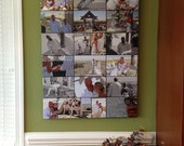 Storyboard Wedding Photo Collage with quotes, words  Personalized Canvas with Text Large Wall Art 36x48  inches