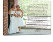 Gay Wedding Marriage Gift Union LGBT Vows or Lyrics Art Personalized Art Typography and Photo on Canvas 18X24