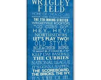 Chicago Cubs Bus Roll Baseball Wall Art Home decor sports 10x20 inch STOCK Typography Canvas
