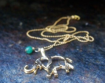 Lucky elephant charm necklace with Jade on gold ball chain