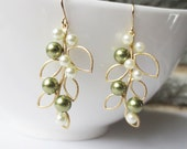 Pearl Leaf Dangle Earrings - Gold Drop Earrings, Wedding Jewelry, Bridesmaid, Bride, Olive Green Ivory Pearl, Leaf Pendant, Personalized