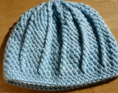 Crochet Cable Hat in Pale Blue - Adult Size M/L