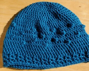 Crochet Bobble Hat in Bright Teal - Adult Small or Kids L/XL