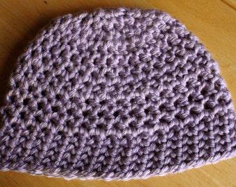 Crochet Hat in Pale Purple - Adult Size M/L