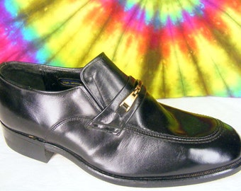 8.5 C mens vintage STACY ADAMS black leather loafers shoes NOS