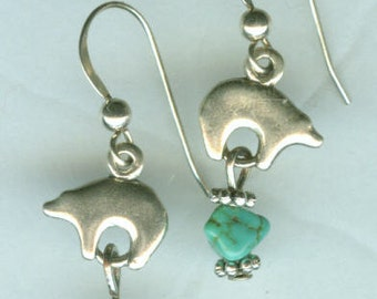 Sterling Silver SOUTHWEST BEAR Earrings - French Earwires