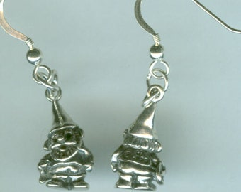 Sterling Silver GNOME  Earrings -  3D Heavy