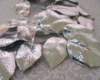 Large Silver Rose Leaves (set of 10) Glossy Silver craft making hat liquid silver