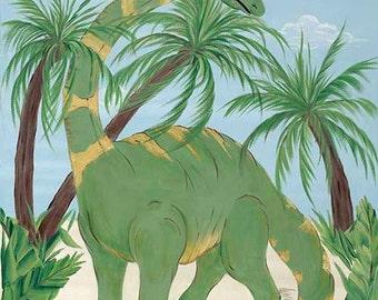 Brontosaurus Dinosaur Boys Kids Art Stretched Canvas 16x24