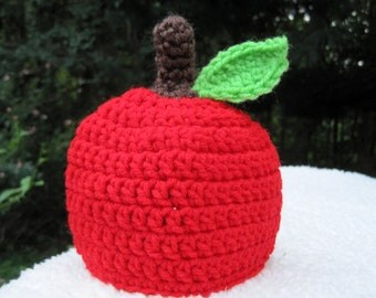 Crochet Baby Hat, Baby Apple Hat, Baby Beanie, Baby Boy Hat, Crochet Apple Hat, Baby Girl Hat, Newborn Hat, Infant Hat, Photo Prop, Red