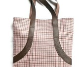 Pink Brown Leather Fabric Tote Bag Purse Wool Chicago Fine Threads Handbag