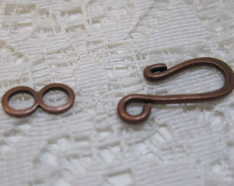 S Hook Clasps Antique Copper Plated Hook and Eye Clasps 16mm x 11mm 10 sets F304B