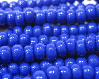 6/0 Blue Opaque Czech Glass Seed Beads