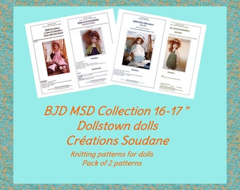 English and french pack of 2 PDF Knitting Patterns BJD MSD 16-17 inches dolls to choose