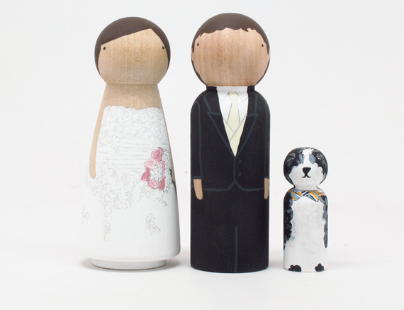 Reserved for Lauren - custom wedding cake toppers with child or pet by Goose Grease