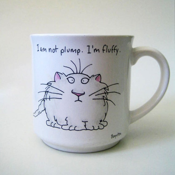 Fluffy. Vintage 1980s Boynton cat mug.