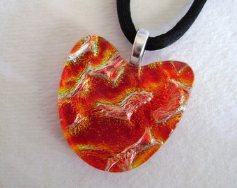 Red heart dichroic glass pendant. dichroic jewelry.