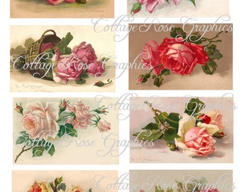 Catherine Klein Roses Large digital download  collage ATC ACEO gift tags ECS buy 3 get one free