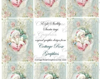 Large digital download collage Pink Shabby Santa Roses ATC ACEO gift tags ECS buy 3 get one free