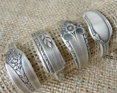 Napkin Rings, Antique Silver Spoon Patterns, Set of 4, Lot 1