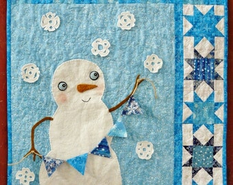 Winter Christmas Snowman QUILT Pattern PDF -  Wish upon a snowflake banner flag wallhanging