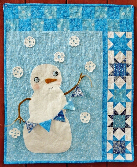 Winter Christmas Snowman QUILT PDF Pattern -  Wish upon a snowflake banner flag star primitive snowman wallhanging