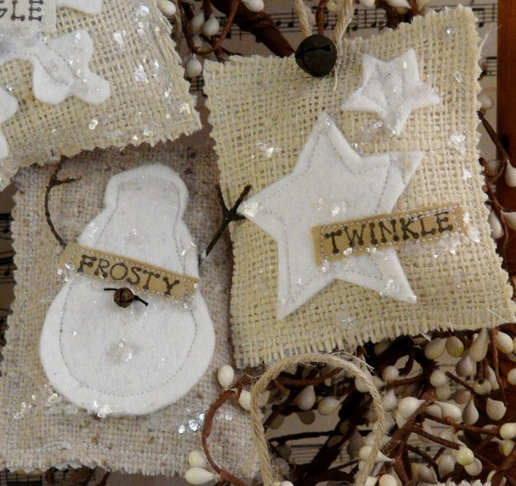 French Country burlap Christmas ornaments E Pattern - prim ornie tweed Pdf wool felt fabric scraps shabby chic primitive