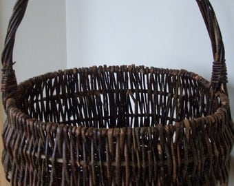 Vintage Large Woven Wicker Willow Basket