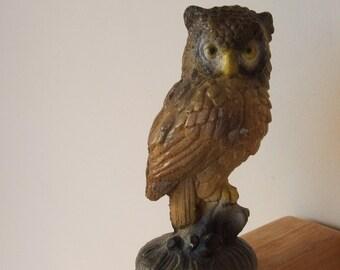 Vintage Painted Cement Owl Figurine