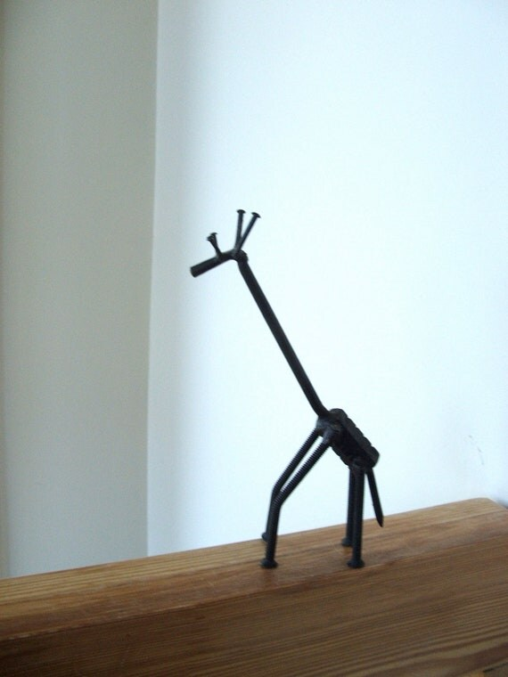 Vintage Giraffe Made From Nuts And Bolts And Nails And Screws