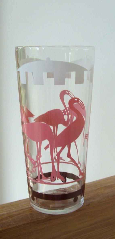 Vintage Pink Flamingos Drinking Glass