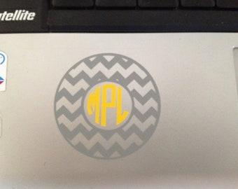 "Chevron Monogram Decal 3"" sticker"