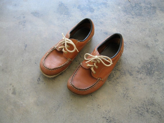 1970s Classic Leather Oxfords. Cotton Rope Laces.