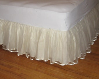 14, 15, or 16 Inch Queen Size Tulle Bedskirt With Satin Ribbon