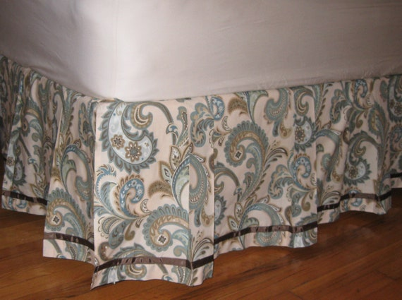 READY tO SHIP - Crib Size - Box - Pleated Bedskirt with Ribbon