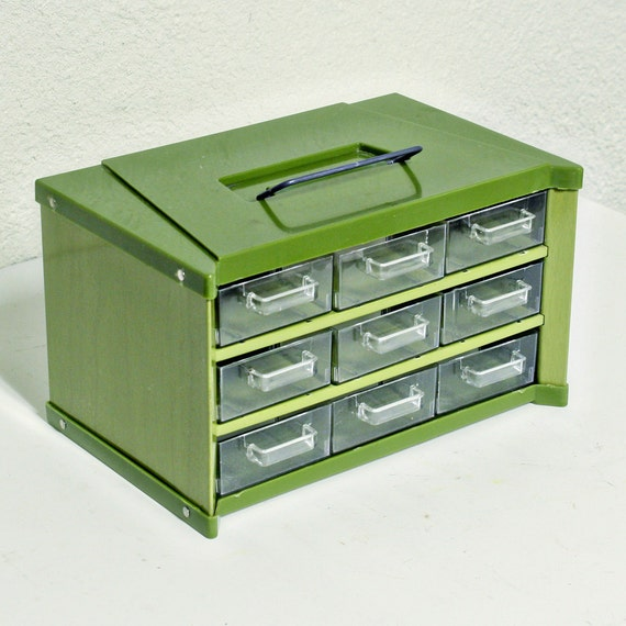 Vintage organizer - screw organizer - bolt bin - 9 drawer - green - hardware storage - bead organizer - desk organizer