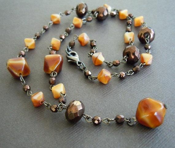 Caramel Swirl Glass Beaded Necklace - Sample Sale