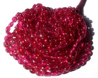 Full 14 Inches - Super Finest AAA Rubelite Pink Corundum Quartz Smooth Polished Ovals Beads Size 8x7 to 10x8mm approx approx