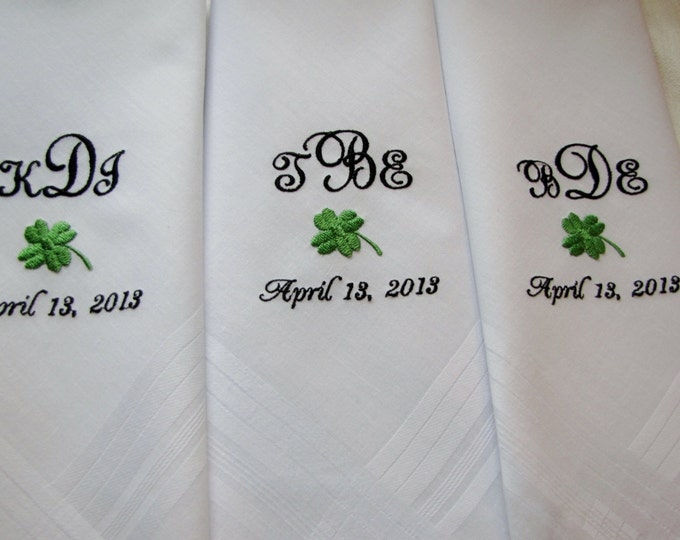 Set of 3 Monogrammed Men's Handkerchiefs, Custom Embroidered Handkerchiefs for men, Groomsmen Gifts, Gifts for the Groom, Groom from Bride