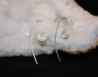 Sterling Silver Earrings, swirl earrings, tiny silver spirals, simple swirl earrings