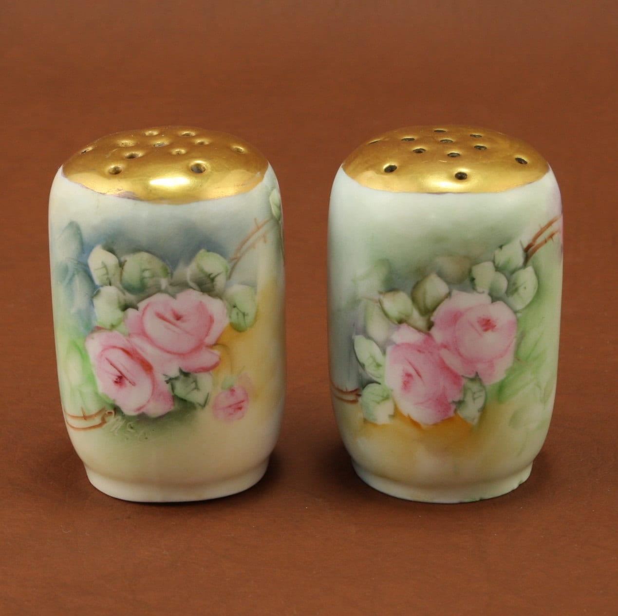Jr Bavaria Porcelain Salt Pepper Shakers Pink Roses Gold Vtg