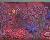 Ceramic Tile Hook Rack- Botanical and Bees in Red Terracotta, Violet and Yellow