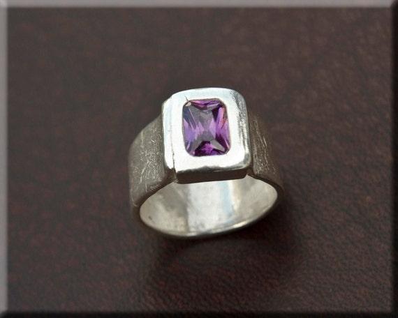 Women's ring - fine silver ring - CZ purple center