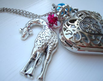 Giraffe, Elephant and Roses Heart Pocket Watch Necklace