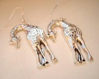 Giraffe Giant Silver Plated Earrings
