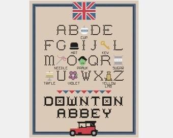 Downton Abbey Alphabet Cross Stitch Sampler Pattern
